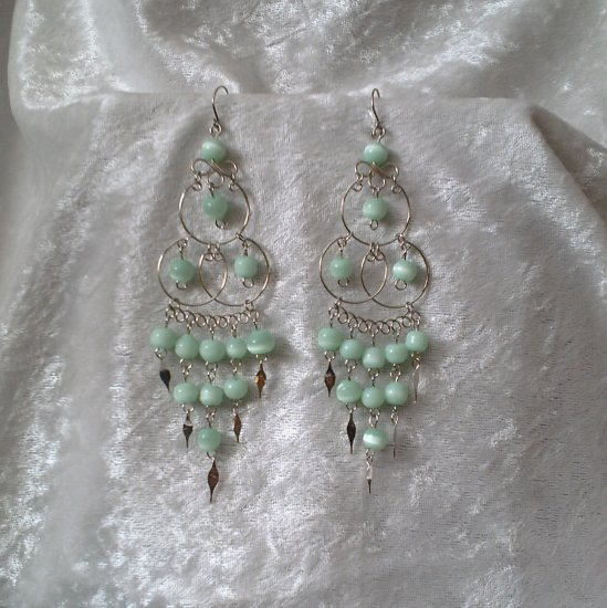 """""""Triple Elegance in Green"""" HANDMADE Peruvian EARRINGS ~Alpaca Silver Jewelry ~Cat's Eyes Beads"""