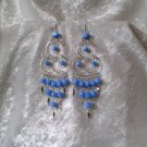 """Triple Elegance in Blue"" HANDMADE Peruvian EARRINGS ~Alpaca Silver Jewelry ~Cat's Eyes Beads"