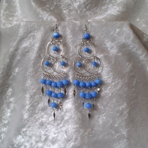 """""""Triple Elegance in Blue"""" HANDMADE Peruvian EARRINGS ~Alpaca Silver Jewelry ~Cat's Eyes Beads"""