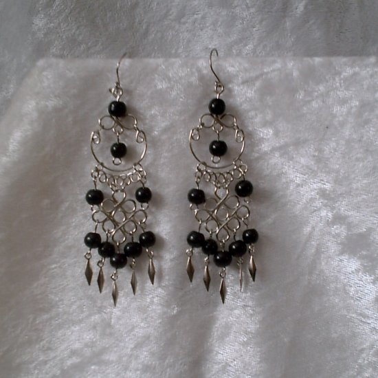 """Celtic Cascades in Black"" HANDMADE Peruvian EARRINGS ~Alpaca Silver Jewelry ~Cat's Eyes Beads"