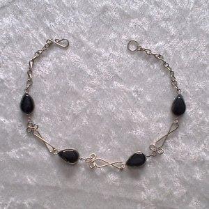 """BLACK MURANO TWIST"" HANDMADE PERUVIAN BRACELET ~Alpaca Silver Jewelry ~Murano Glass"