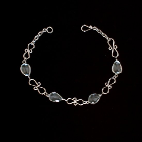 """CLEAR MURANO CURLS"" HANDMADE PERUVIAN BRACELET ~Alpaca Silver Jewelry ~Murano Glass"