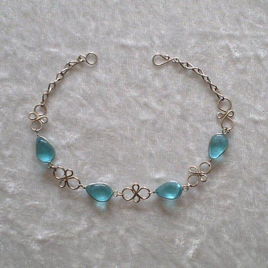 """CYAN MURANO KNOTS"" HANDMADE PERUVIAN BRACELET ~Alpaca Silver Jewelry ~Murano Glass"