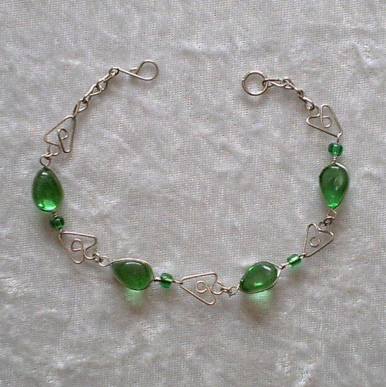"""EMERALD MURANO ARROWS"" HANDMADE PERUVIAN BRACELET ~Alpaca Silver Jewelry ~Murano Glass"
