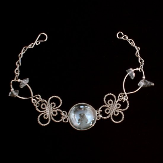 """CLEAR MURANO CELTIC CLOVERS"" HANDMADE PERUVIAN Bracelet ~Alpaca Silver Jewelry ~Cascajo nuggets"