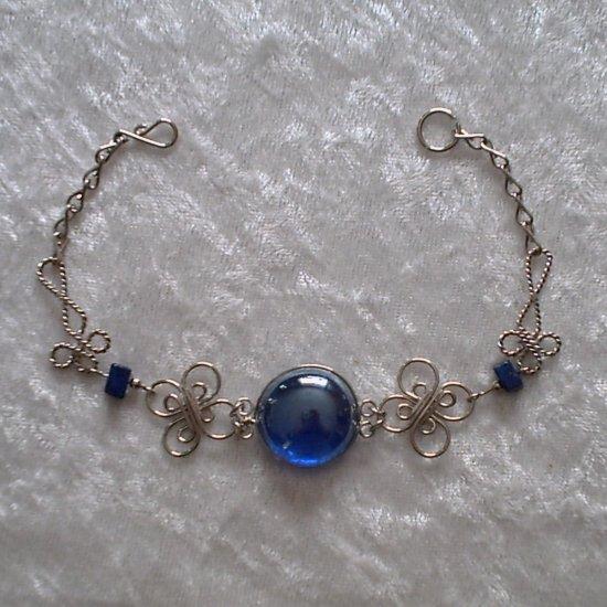 """DEEP BLUE MURANO CLOVERS"" HANDMADE PERUVIAN Bracelet ~Alpaca Silver Jewelry ~Cascajo nuggets"