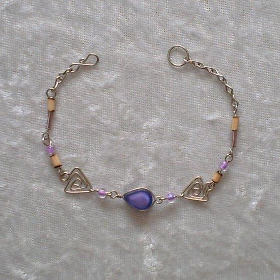 """TRIBAL LILACS"" MURANO GLASS & BAMBOO BEADS Bracelet ~HANDMADE PERUVIAN Alpaca Silver Jewelry"