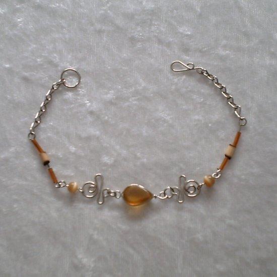 """""""AMBER TWISTS"""" MURANO & BAMBOO Bracelet ~HANDMADE PERUVIAN Alpaca Silver Jewelry ~Cat's Eye beads"""