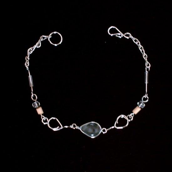 """CRYSTAL TEARS"" MURANO glass & BAMBOO beads BRACELET ~HANDMADE Peruvian Alpaca Silver Jewelry"