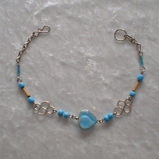 """TRUE BLUE HEART"" MURANO glass & BAMBOO beads BRACELET~HANDMADE Peruvian Alpaca Silver Jewelry"