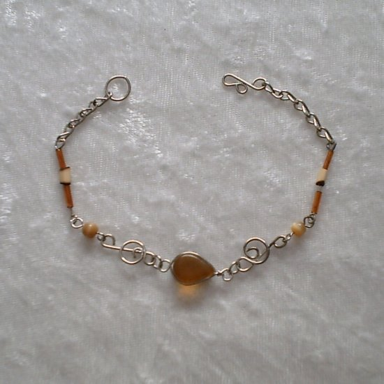 """AMBER MELODY"" MURANO and BAMBOO BRACELET ~HANDMADE Peruvian Alpaca Silver Jewelry ~Cat's Eye beads"