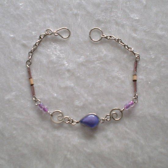 """LILAC CURLS"" MURANO glass & BAMBOO beads BRACELET ~HANDMADE Peruvian Alpaca Silver Jewelry"
