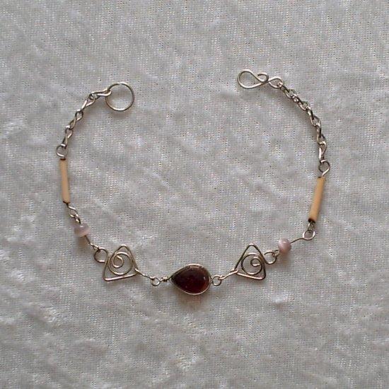 """TRIBAL VIOLETS"" MURANO & BAMBOO BRACELET~HANDMADE Peruvian Alpaca Silver Jewelry~Cat's Eye beads"