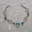 """Turquoise Hearts"" MURANO glass & CASCAJO nuggets Bracelet ~HANDMADE Peruvian Alpaca Silver Jewelry"