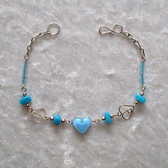 """MANY HEARTS"" MURANO glass & CASCAJO nugget beads BRACELET ~HANDMADE Peruvian Alpaca Silver Jewelry"