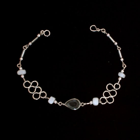 """SERPENTINE"" MURANO glass & CASCAJO nugget beads BRACELET ~HANDMADE Peruvian Alpaca Silver Jewelry"