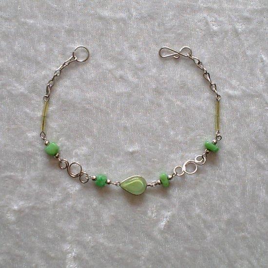 """LIME TWIST"" MURANO glass & CASCAJO nugget beads BRACELET ~HANDMADE Peruvian Alpaca Silver Jewelry"