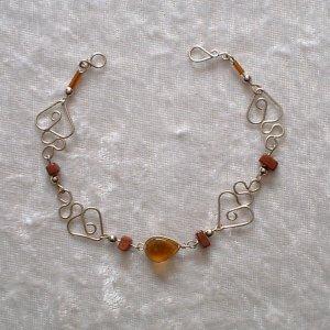 """AMBER HEARTS"" MURANO glass & CASCAJO nugget beads BRACELET ~HANDMADE Peruvian Alpaca Silver Jewelry"