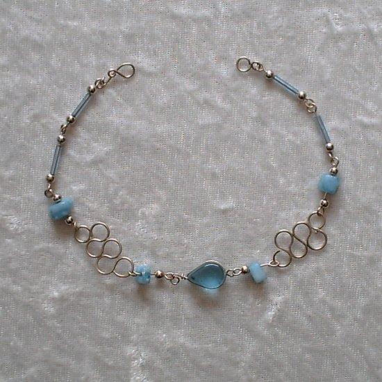 """BLUE SERPENTINE"" MURANO glass & CASCAJO nuggets BRACELET ~HANDMADE Peruvian Alpaca Silver Jewelry"