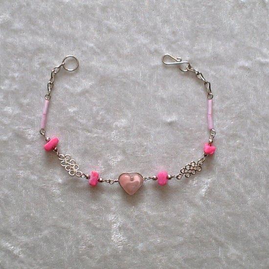 """PINK HEART & KNOTS"" MURANO glass & CASCAJO beads BRACELET ~HANDMADE Peruvian Alpaca Silver Jewelry"