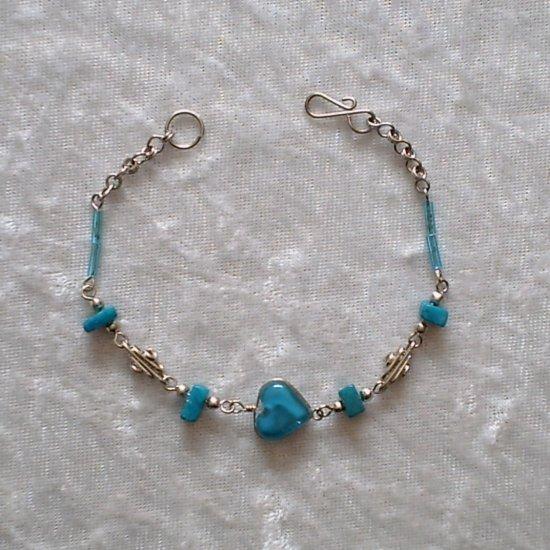 """""""Turquoise Diamond Coils"""" MURANO & CASCAJO beads BRACELET ~HANDMADE Peruvian Alpaca Silver Jewelry"""