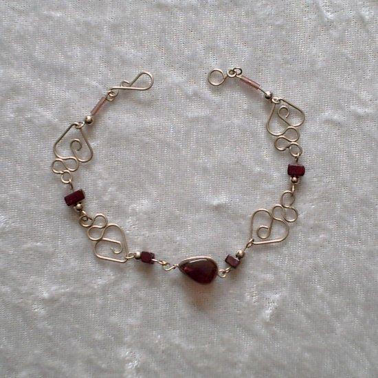 """DEEP VIOLET HEARTS"" MURANO glass & CASCAJO beads BRACELET ~HANDMADE Peruvian Alpaca Silver Jewelry"