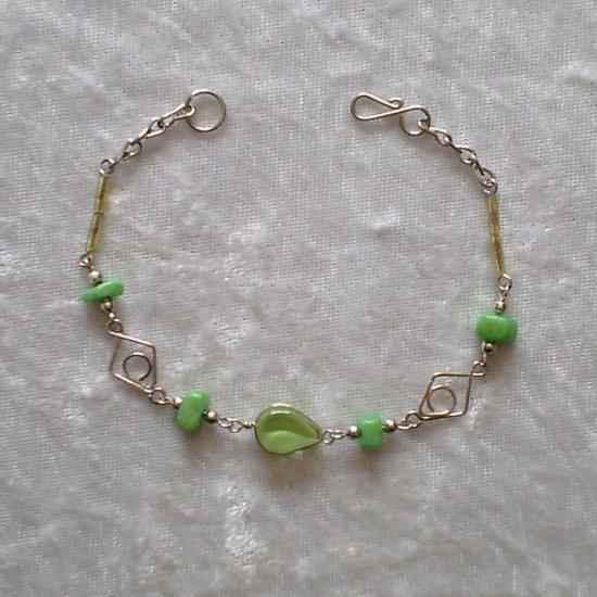 """""""TRIBAL LIME DIAMONDS"""" MURANO & CASCAJO beads BRACELET ~HANDMADE Peruvian Alpaca Silver Jewelry"""