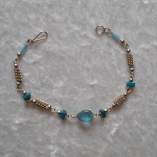 """Turquoise Coils"" MURANO glass & CASCAJO nuggets BRACELET ~HANDMADE Peruvian Alpaca Silver Jewelry"