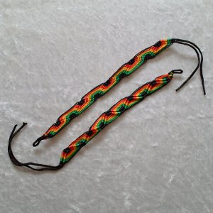 HANDMADE FRIENDSHIP BRACELET ~in RASTA Hues ~Bold Colors ~Zig-Zag Pattern ~Jewelry