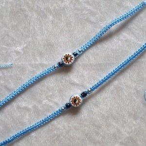 HANDMADE PERUVIAN BEADED FRIENDSHIP BRACELET ~ Light blue with Yin-Yang Sun bead ~Jewelry