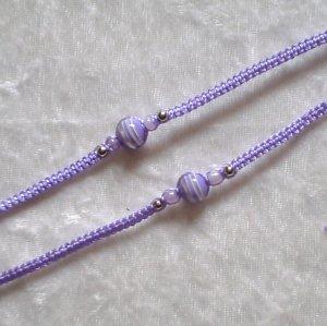 HANDMADE PERUVIAN BEADED FRIENDSHIP BRACELET ~ Lavender with Striped Bead ~Jewelry