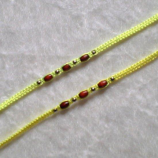 HANDMADE PERUVIAN BEADED FRIENDSHIP BRACELET ~Neon Yellow with Wood beads ~Jewelry