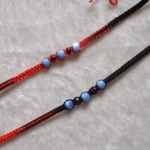 HANDMADE PERUVIAN BEADED FRIENDSHIP BRACELET ~Red & Black with Cat's Eye beads ~Jewelry