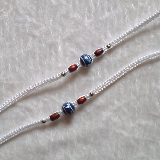 HANDMADE PERUVIAN BEADED FRIENDSHIP BRACELET ~ White with Blue Sphere & Wood beads ~Jewelry