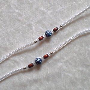 HANDMADE PERUVIAN BEADED FRIENDSHIP BRACELET ~ White with Blue Sphere & Wood beads ~Jewelry