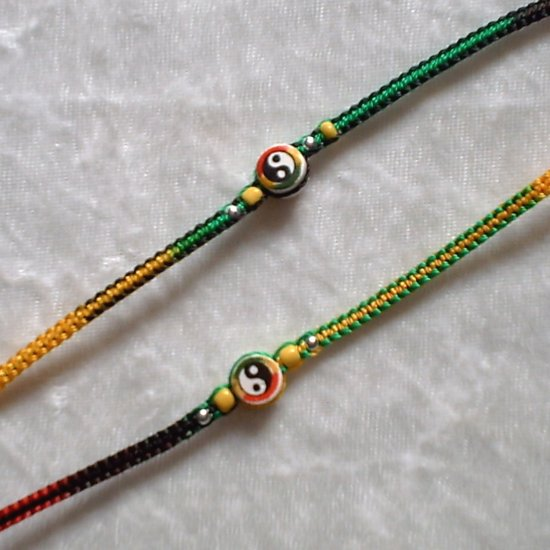 HANDMADE PERUVIAN BEADED FRIENDSHIP BRACELET ~Rasta Multi-colored with Yin-Yang bead ~Jewelry
