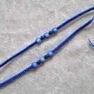 HANDMADE PERUVIAN BEADED FRIENDSHIP BRACELET ~Blue with Light Blue Cat's Eye beads ~Jewelry