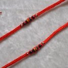 HANDMADE PERUVIAN BEADED FRIENDSHIP BRACELET ~Red with Striped Unique Design bead ~Jewelry