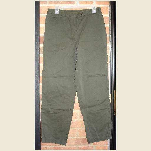 Dark Olive Green SLACKS ~by Liz Claiborne / Lizsport ~excellent condition ~Pants size 12 Petite