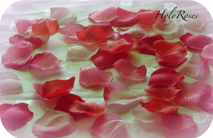 100 Mix of Red and Pink Silk Rose Petals (T) Weddings Crafts
