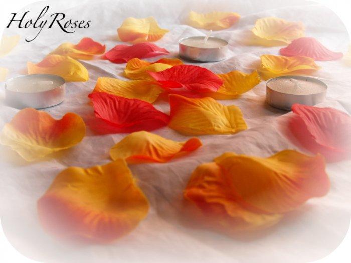 250 Autumn Mix Silk Rose Petals Weddings Crafts (Large)