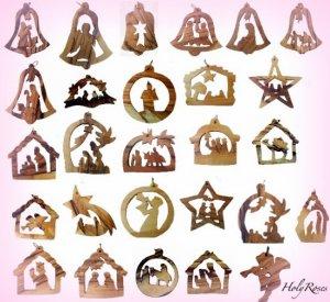 12 Olive Wood Christmas Tree Decorations