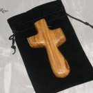 Olive Wood Holding/Comfort Cross - Deluxe Version in Gift Bag - Made in Bethlehem