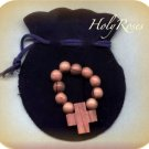 Olive Wood Finger Rosary in Velvet Pouch