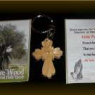 Fancy Cross Olive Wood Keyring - Meaningful Gift