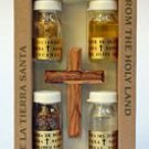 Olive Wood Cross Set with 4 Bottles (Oil, Water, Incense & Earth)