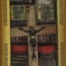 Olive Wood Crucifix Set with 4 Bottles (B) (Oil, Water, Incense & Earth)