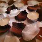 100 Coffee Brown & Ivory Mix of Silk Rose Petals Weddings Crafts (Large)