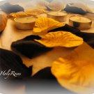 250 Black & Gold Silk Rose Petals Weddings Crafts (Large)