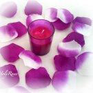 250  Deep Fuscia and Deep Fuscia/White Two Tone Silk Rose Petals Weddings Crafts (Large)